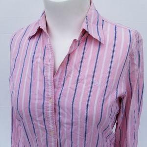 Lauren Ralph Lauren | Pink Blue Striped Top size L